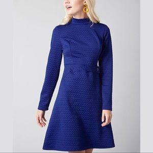 modcloth modest textured high neck long sleeve mini dress